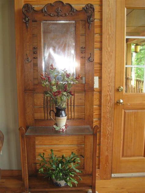 antique carved golden oak hall tree furniture mirror
