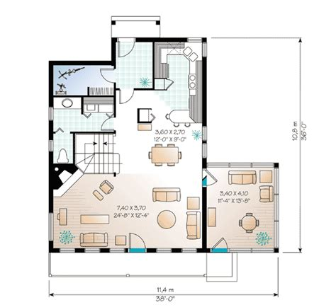 sloping lot vacation home plan 2104dr 2nd floor master