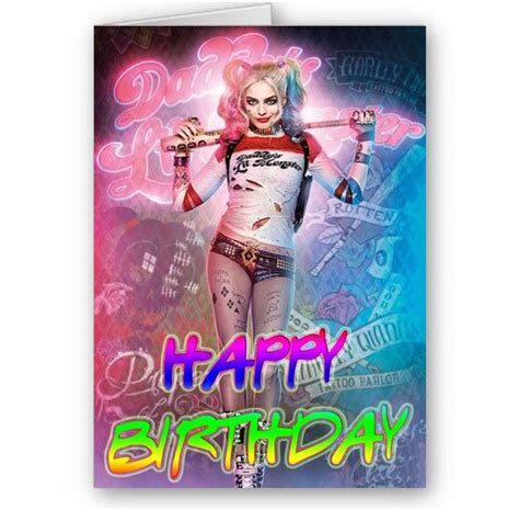 Harley Quinn Birthday Card Suicide Squad Harley Quinn A5 Happy Birthday Card