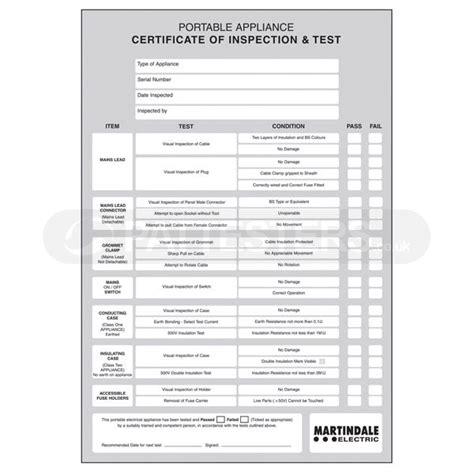 pat testing certificate template pat testing certificate restaurents