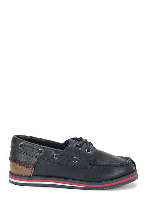 boat shoes hugo boss boss j29116 boys leather boat shoes