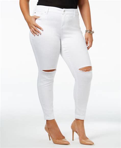 celebrity pink white skinny jeans celebrity pink trendy plus size destructed girlfriend