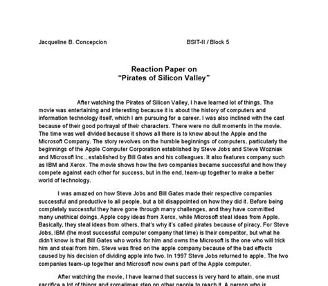 reaction essay sle how to make reaction paper format 28 images sle