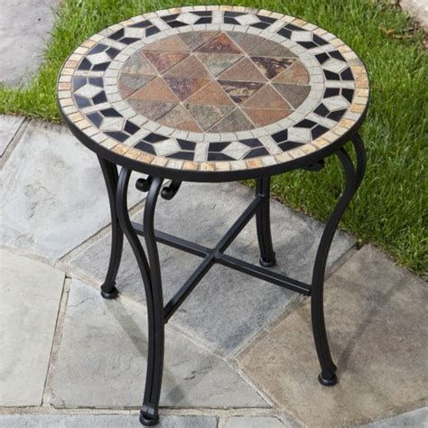 Mosaic Patio Side Table by San Marco Marble Mosaic Side Table