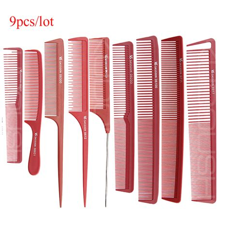 Sisir Carbon color hairdressing cut comb in 9 design set