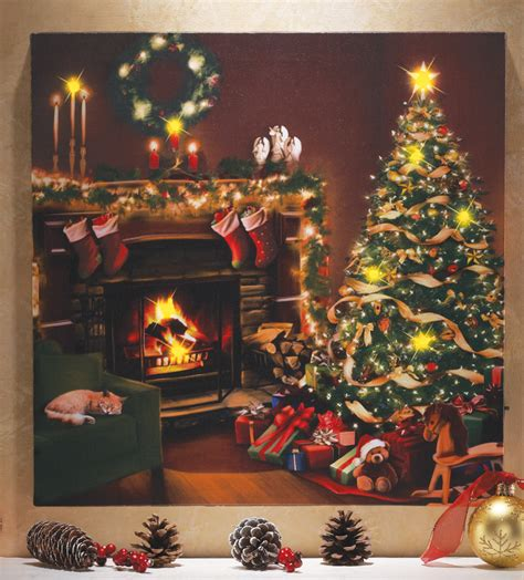 lighted christmas canvas art flickering led lighted christmas eve scene w cat canvas