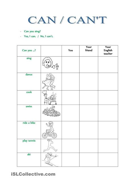 printable grammar worksheets can cant esl worksheets of the day pinterest