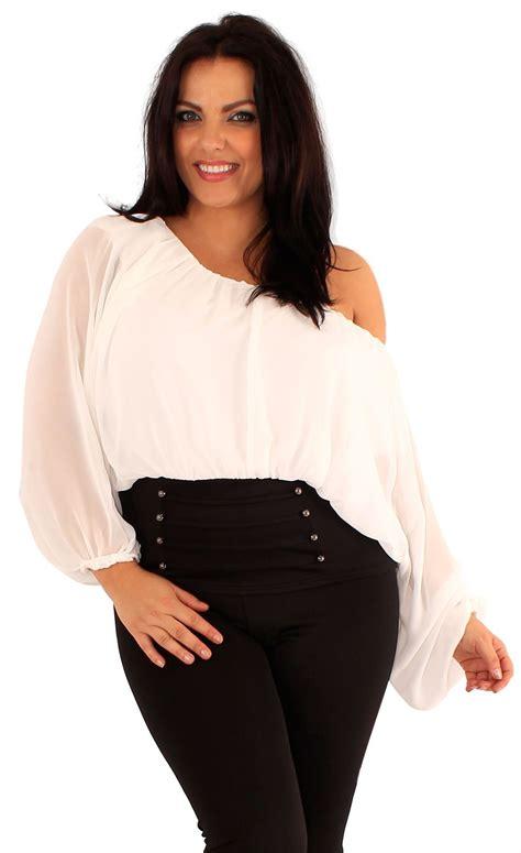 amazon off the shoulder shirts tops tees womens plus size plain chiffon long sleeve off shoulder