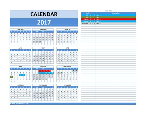 2017 And 2018 Calendars Excel Templates Excel Calendar 2017 Template