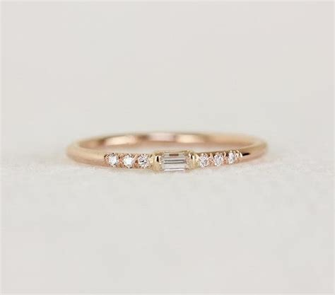 14k solid gold thin engagement ring with baguette