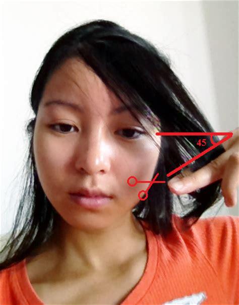 trimming bangs at an angle cut food and fashion diy side swept bangs
