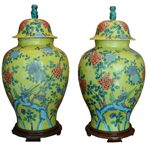 Pair 2 Large Antique Style Koi Lidded Jar Vase Blue White New What S It Worth Pair Of Large Vintage Asian Lidded Jars At 1stdibs
