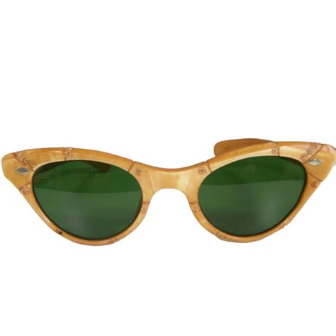 vintage glasses faux bamboo vintage sunglasses by raybert light brown