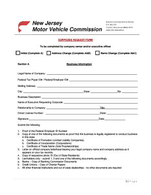 request letter company car nj corp code fill printable fillable blank