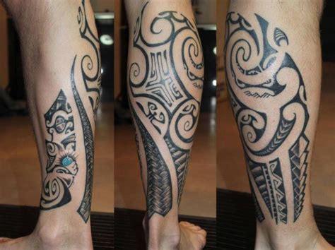 tattoo tribal pierna maori tattoo of man calf with tiki and polynesian big