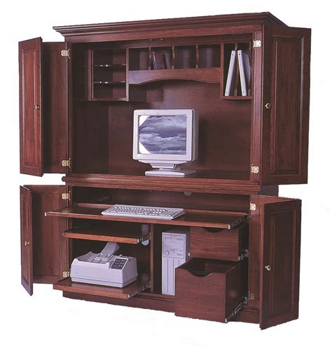 Desk Armoire Computer by Amish Computer Armoires
