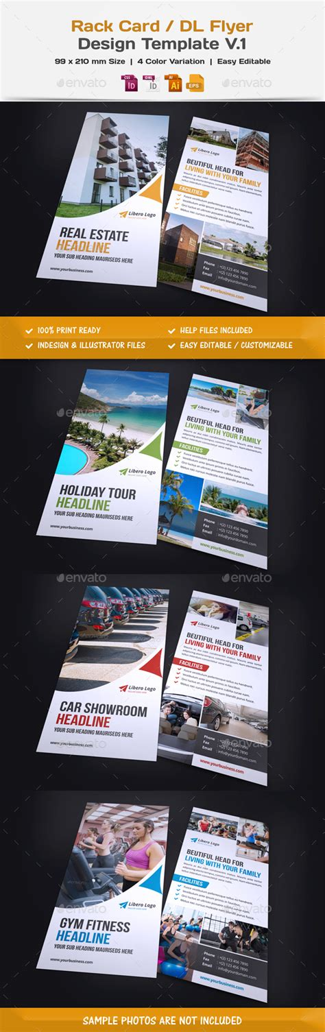 Rack Card Dl Flyer Design By Miyaji75 Graphicriver Rack Card Template Illustrator