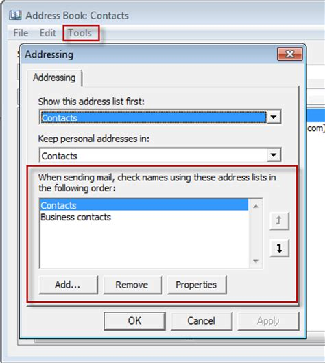 Address Book Search Outlook Address Book Search Order