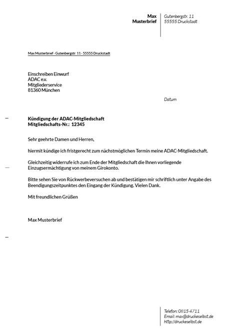 Kfz Versicherung Kündigen Per Einschreiben by Drucke Selbst Kostenlose Vorlagen F 252 R K 252 Ndigungsschreiben