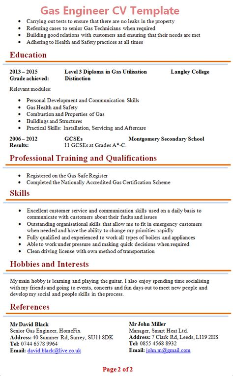 engineering cv template free gas engineer cv template 2