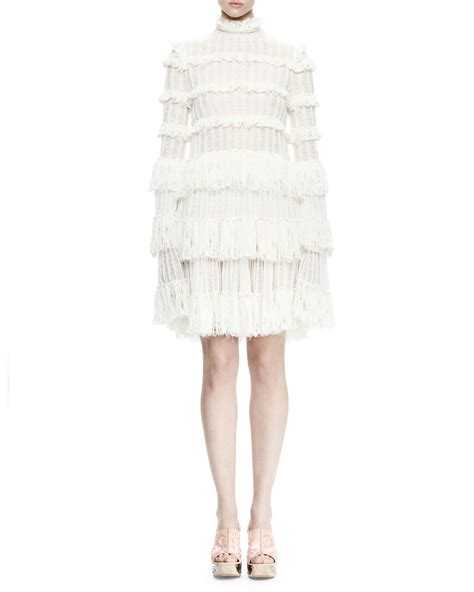 Sleeve Ruffle Lace Dress lyst mcqueen sleeve tiered lace ruffle