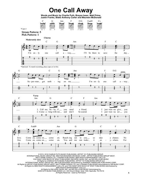 tutorial guitar one call away one call away by charlie puth easy guitar tab guitar