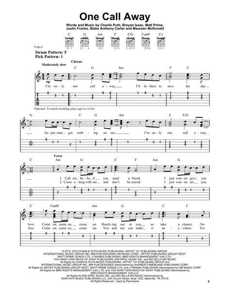 one call away sheet music direct