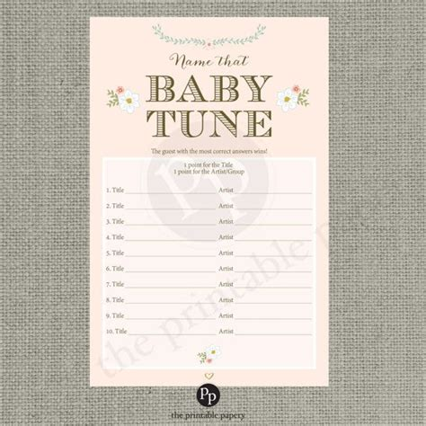 Songs For Baby Showers by Printable Quot Name That Baby Tune Quot Baby Shower Blush