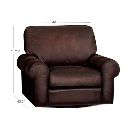 swivel armchair leather turner roll arm leather swivel armchair pottery barn