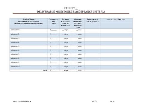 acceptance criteria design document milestone fee and acceptance criteria pictures