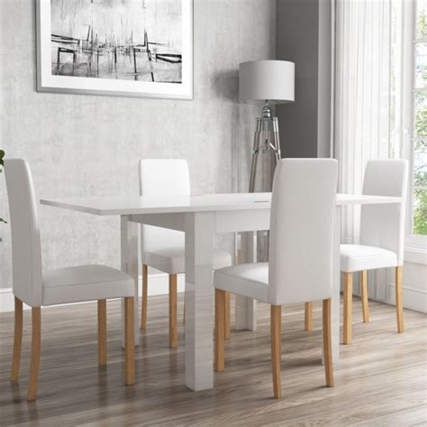 white leather chairs for dining table white high gloss flip top dining table and 4 white faux