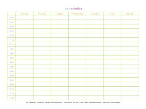 hours schedule template 6 best images of printable daily schedule by hour free