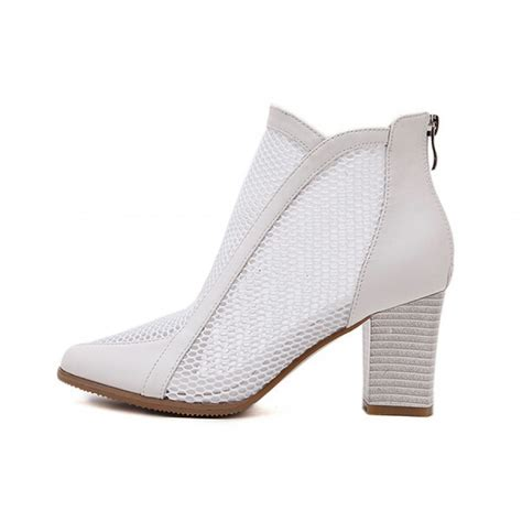 Pointed Block Heel Ankle Boots white mesh block heel pointed toe ankle boots