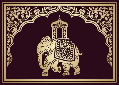 indian design indian patterns with elephants vector set 04 vector