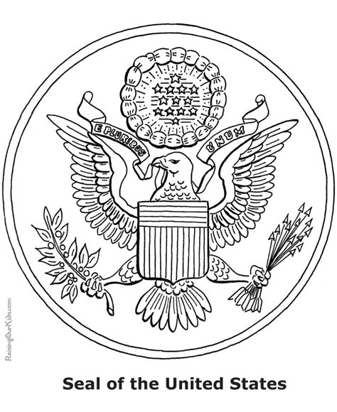 Great Seal Of The United States Coloring Page great seal of the united states coloring page coloring home