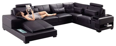black top grain leather sectional sofa with built