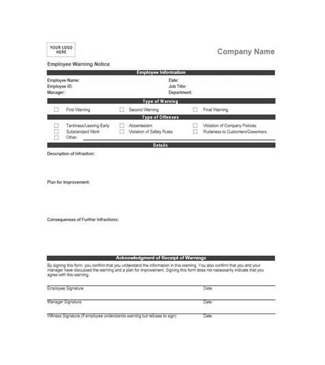 Employee Warning Notice Download 56 Free Templates Forms Employee Warning Template