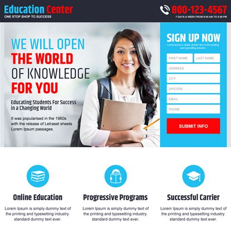 education landing page design templates to get the best