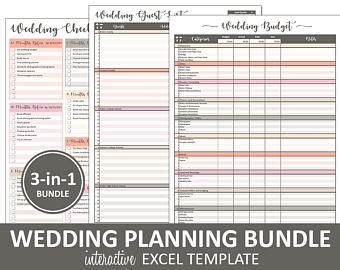wedding budget guest list wedding checklist etsy
