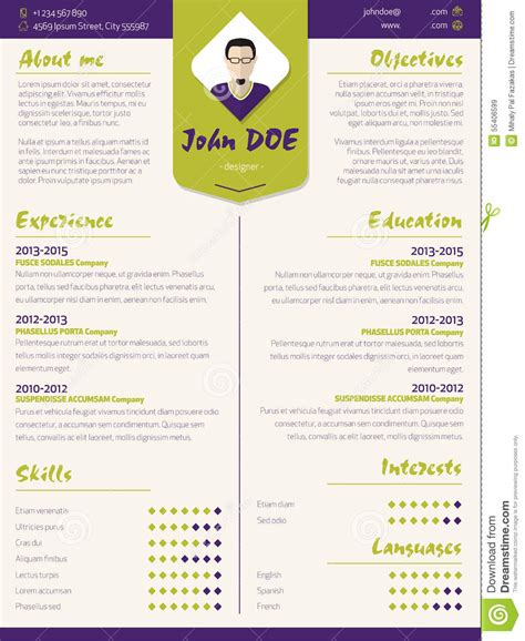 Colorful Modern Resume Curriculum Vitae Template With Design Ele Stock Vector Illustration Of Colorful Resume Templates