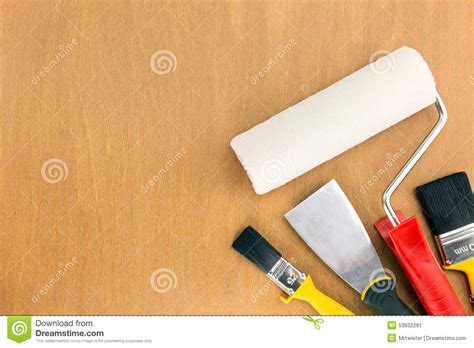 home painting design tool painting supplies on wooden background stock photo image