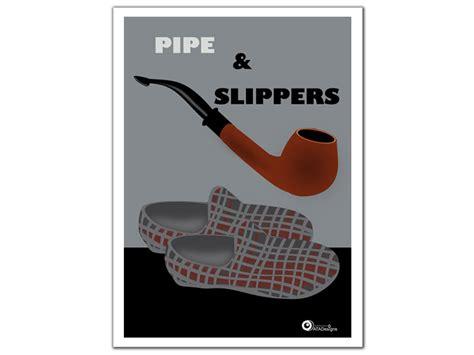 Stone Wall Mural pipe and slippers art print atadesignsatadesigns