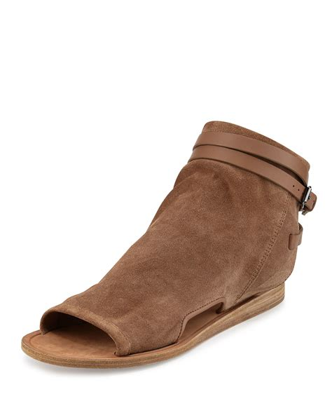 flat suede sandals vince thalia slouchy suede cutout flat sandals in brown lyst