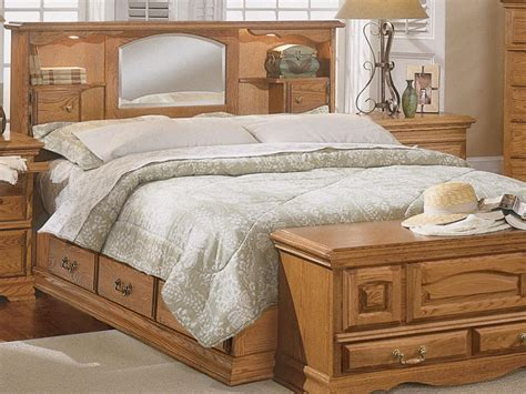Wooden Bed With Mirrored Headboard Bedroom Set Home