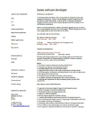 sle software developer resume 9 exles in word pdf resume junior software developer persepolisthesis web fc2 com