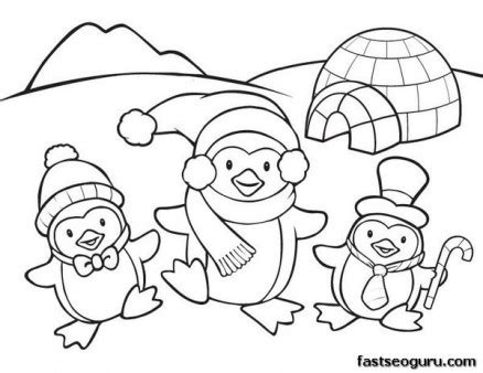free coloring pages animals in winter printable coloring pages animal penguins for