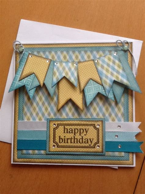 Mens Handmade Cards - layered bunting inspiring ideas