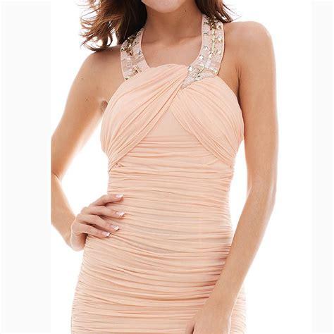 Sleeveless Halter Pleated Dress s sleeveless halter beaded pleated sheath evening