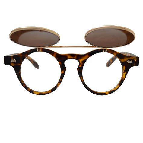 Horn Rimmed Glasses: Tortoise Shell Frames & Gold Flip Up