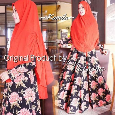Gamis Humairah Syari Khimar Crepe Motif Bunga Flower Busui Wudhu gamis syari motif bunga kamila syari baju muslim modern